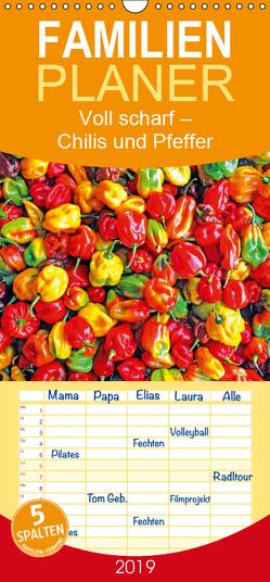 Voll scharf: Chilis und Pfeffer – Familienplaner hoch (Wandkalender 2019 , 21 cm x 45 cm, hoch) von CALVENDO
