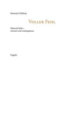 Voller Fehl von Engeler,  Urs, Waldrop,  Rosmarie