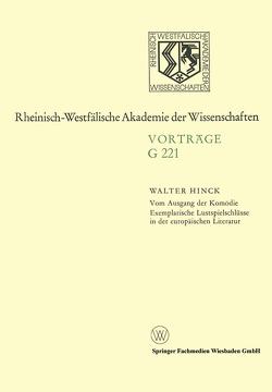Vom Ausgang der Komödie Exemplarische Lustspielschlüsse in der europäischen Literatur von Hinck,  Walter