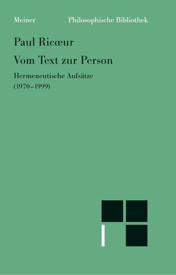 Vom Text zur Person von Ricoeur,  Paul, Welsen,  Peter