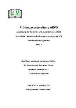 Vorbereitungsaufgaben – AEVO-Prüfung, Band 3 von Kreißl,  Georg