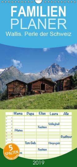 Wallis. Perle der Schweiz – Familienplaner hoch (Wandkalender 2019 , 21 cm x 45 cm, hoch) von Becker,  Thomas