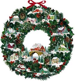 Wandkalender – Winterhäuschen-Weihnachtskranz von Behr,  Barbara