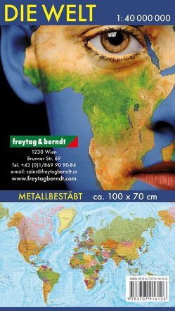 Wandkarte: Die Welt, deutsch, Poster 1:40.000.000, Metallbestäbt in Rolle von Freytag-Berndt und Artaria KG