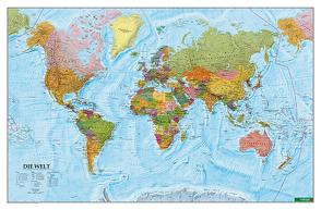Wandkarte: Die Welt, Poster 1:35.000.000, Plano in Rolle von Freytag-Berndt und Artaria KG