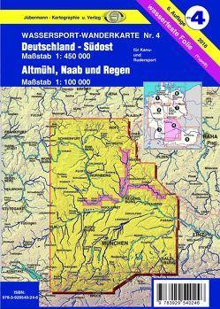 Wassersport-Wanderkarte / Deutschland Südost mit Altmühl, Naab und Regen für Kanu- und Rudersport von Jübermann,  Erhard