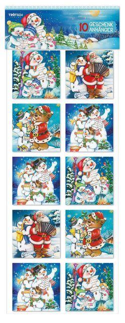 Weihnachten Geschenkanhänger 10er-Pack Schneemann / Weihnachtsmann mit Glitzer