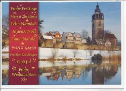 """Weihnachts- Doppelkarte B6 """" St.Crucis-Kirche im Winter """", mit Umschlag, von Frühauf,  Wolfgang"""