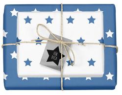 Weihnachtsgeschenkpapier-Set: Sterne (blau/ weiß)