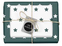 Weihnachtsgeschenkpapier-Set: Sterne (grün/ weiß)