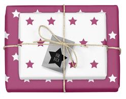 Weihnachtsgeschenkpapier-Set: Sterne (lila/ weiß)