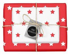 Weihnachtsgeschenkpapier-Set: Sterne (rot/ weiß)