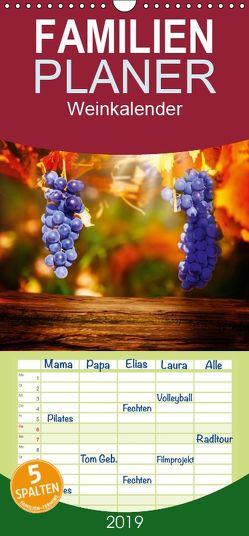 Weinkalender – Familienplaner hoch (Wandkalender 2019 , 21 cm x 45 cm, hoch) von Tänzer / Fotoknips,  Kay