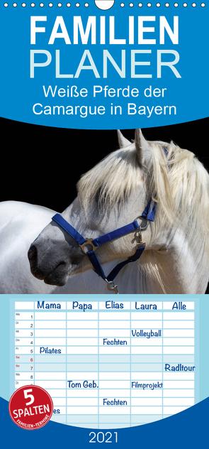 Weiße Pferde der Camargue in Bayern – Familienplaner hoch (Wandkalender 2021 , 21 cm x 45 cm, hoch) von brigitte jaritz,  photography