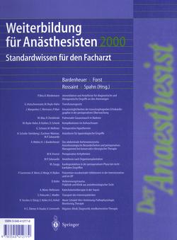 Weiterbildung für Anästhesisten 2000 von Bardenheuer,  H.J., Forst,  H., Rossaint,  R., Spahn,  D.R.