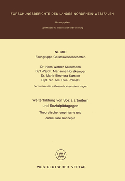 Weiterbildung von Sozialarbeitern und Sozialpädagogen von Klusemann,  Hans-Werner