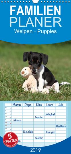 Welpen – Puppies – Familienplaner hoch (Wandkalender 2019 , 21 cm x 45 cm, hoch) von Hutfluss,  Jeanette