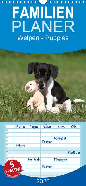 Welpen – Puppies – Familienplaner hoch (Wandkalender 2020 , 21 cm x 45 cm, hoch) von Hutfluss,  Jeanette