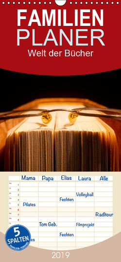 Welt der Bücher – Familienplaner hoch (Wandkalender 2019 , 21 cm x 45 cm, hoch) von Jäger,  Anette/Thomas