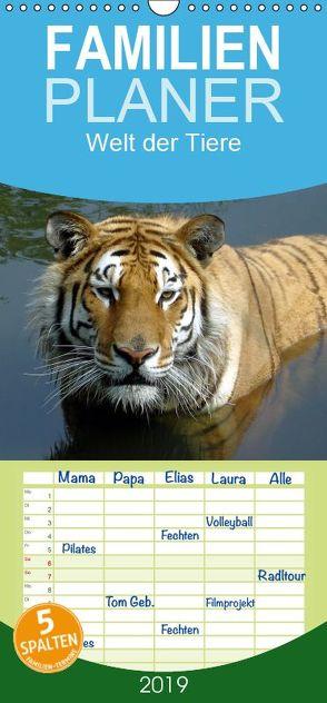 Welt der Tiere – Familienplaner hoch (Wandkalender 2019 , 21 cm x 45 cm, hoch) von Riedel,  Tanja
