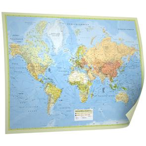 """Weltkarte """"Reiseweltkarte"""", 1:31 Mio.,folienbeschichtet, inkl. Metallbeleistung und Magnetkugeln Neoballs"""