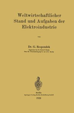 Weltwirtschaftlicher Stand und Aufgaben der Elektroindustrie von Respondek,  Georg