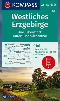 KOMPASS Wanderkarte Westliches Erzgebirge, Aue, Eibenstock, Kurort Oberwiesenthal von KOMPASS-Karten GmbH