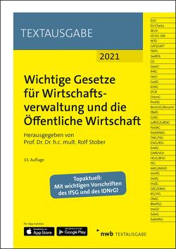 Wichtige Gesetze für Wirtschaftsverwaltung und die Öffentliche Wirtschaft von Stober,  Rolf