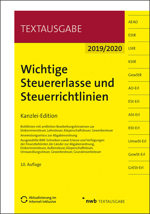 Wichtige Steuererlasse und Steuerrichtlinien von Gellings,  Dieter, NWB Gesetzesredaktion