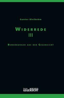 Widerrede III von Bleibohm,  Gunter
