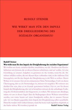 Wie wirkt man für den Impuls der Dreigliederung des sozialen Organismus? von Steiner,  Rudolf