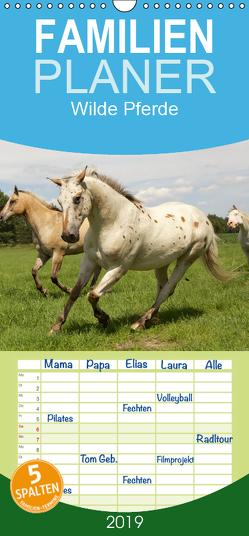 Wilde Pferde – Familienplaner hoch (Wandkalender 2019 , 21 cm x 45 cm, hoch) von Kalanke,  Jens