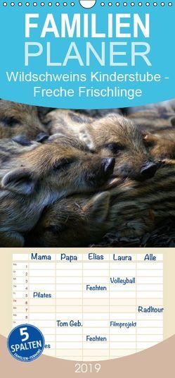 Wildschweins Kinderstube – Freche Frischlinge – Familienplaner hoch (Wandkalender 2019 , 21 cm x 45 cm, hoch) von Hebgen,  Peter