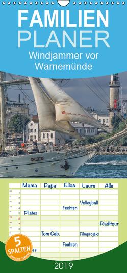 Windjammer vor Warnemünde – Familienplaner hoch (Wandkalender 2019 , 21 cm x 45 cm, hoch) von Morgenroth,  Peter