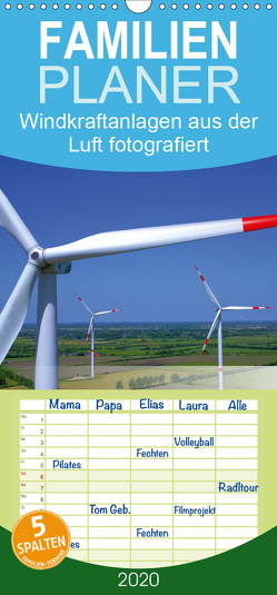 Windkraftanlagen aus der Luft fotografiert – Familienplaner hoch (Wandkalender 2020 , 21 cm x 45 cm, hoch) von Siegert - www.batcam.de , - Tim