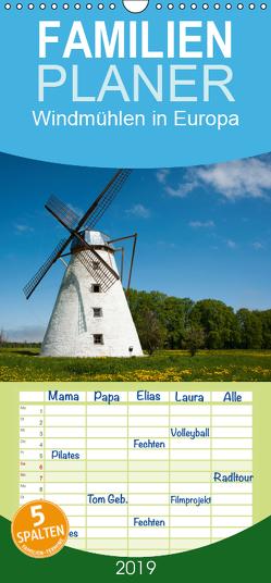 Windmühlen in Europa – Familienplaner hoch (Wandkalender 2019 , 21 cm x 45 cm, hoch) von Scholz,  Frauke