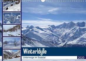 WinterIdylle Unterwegs im Saastal (Wandkalender 2020 DIN A3 quer) von Michel,  Susan