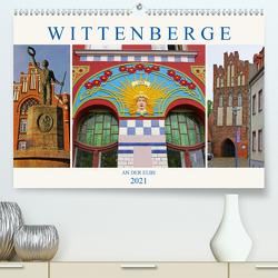 Wittenberge an der Elbe (Premium, hochwertiger DIN A2 Wandkalender 2021, Kunstdruck in Hochglanz) von M. Laube,  Lucy
