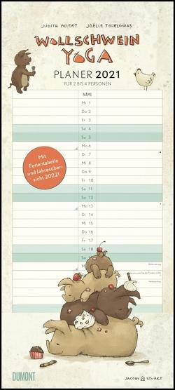 Wollschwein-Yoga 2021 – Planer für Paare und Familien – Mit zwei bis vier Spalten – Format 22 x 49,5 cm von Allert,  Judith, Tourlonias,  Joelle