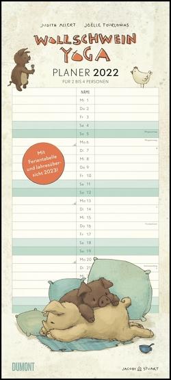Wollschwein-Yoga 2022 – Planer für Paare und Familien – Bilder von Joelle Tourlonias – Mit zwei bis vier Spalten – Format 22 x 49,5 cm von Allert,  Judith, Tourlonias,  Joelle