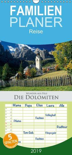 Wunder aus Fels Die Dolomiten – Familienplaner hoch (Wandkalender 2019 , 21 cm x 45 cm, hoch) von Janka,  Rick