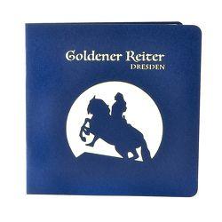 Wunderkarte Goldener Reiter Dresden blau