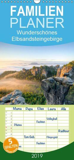 Wunderschönes Elbsandsteingebirge – Familienplaner hoch (Wandkalender 2019 <strong>21 cm x 45 cm</strong> hoch) von Valjak,  Michael