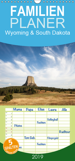 Wyoming & South Dakota – Familienplaner hoch (Wandkalender 2019 , 21 cm x 45 cm, hoch) von Wörndl,  Wolfgang