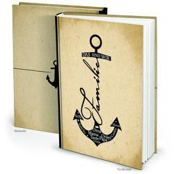 XXL Familienbuch ANKER beige schwarz maritim (Hardcover A4, Blankoseiten)