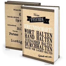 XXL Gästebuch Freundschaftsbuch beige schwarz Kraftpapier Hochzeitsgästebuch Freundebuch DIN A4 Notizbuch Blanko-Buch