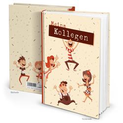 """XXL Kollegenbuch """"Lustige Männchen"""" beige braun (Hardcover A5, Blankoseiten)"""