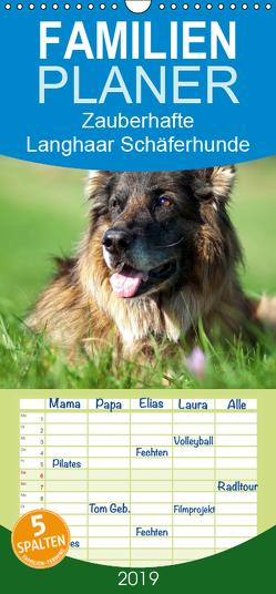 Zauberhafte Langhaar Schäferhunde – Familienplaner hoch (Wandkalender 2019 , 21 cm x 45 cm, hoch) von Schiller,  Petra