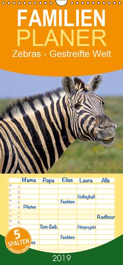 Zebras – Gestreifte Welt – Familienplaner hoch (Wandkalender 2019 , 21 cm x 45 cm, hoch) von Woyke,  Wibke