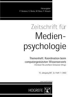 Zeitschrift für Medienpsychologie / Zeitschrift für Medienpsychologie von Filk,  Christian, Schweizer,  Karin